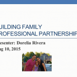 Image of webinar title slide with picture of presenter and family.