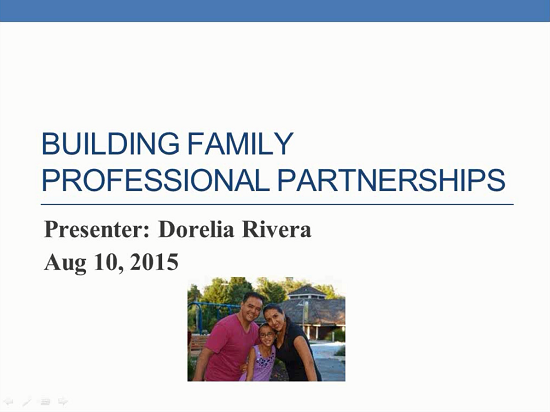 Image Webinar title slide with picture of presenter and family.