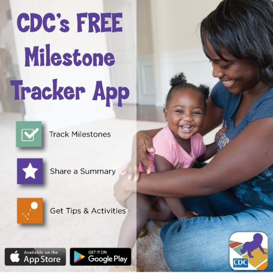 Mother holding child in her lap with information about CDC's free Milestone Tracker App