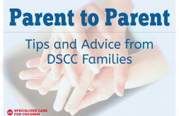 DSCC logo, image of hands representing parent-to-parent support