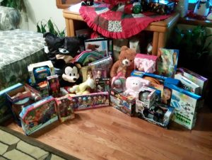 Presents collected for a DSCC family in need by the Rockford Salvation Army