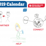 DSCC 2019 promotional calendar cover featuring three stick figure children's drawings