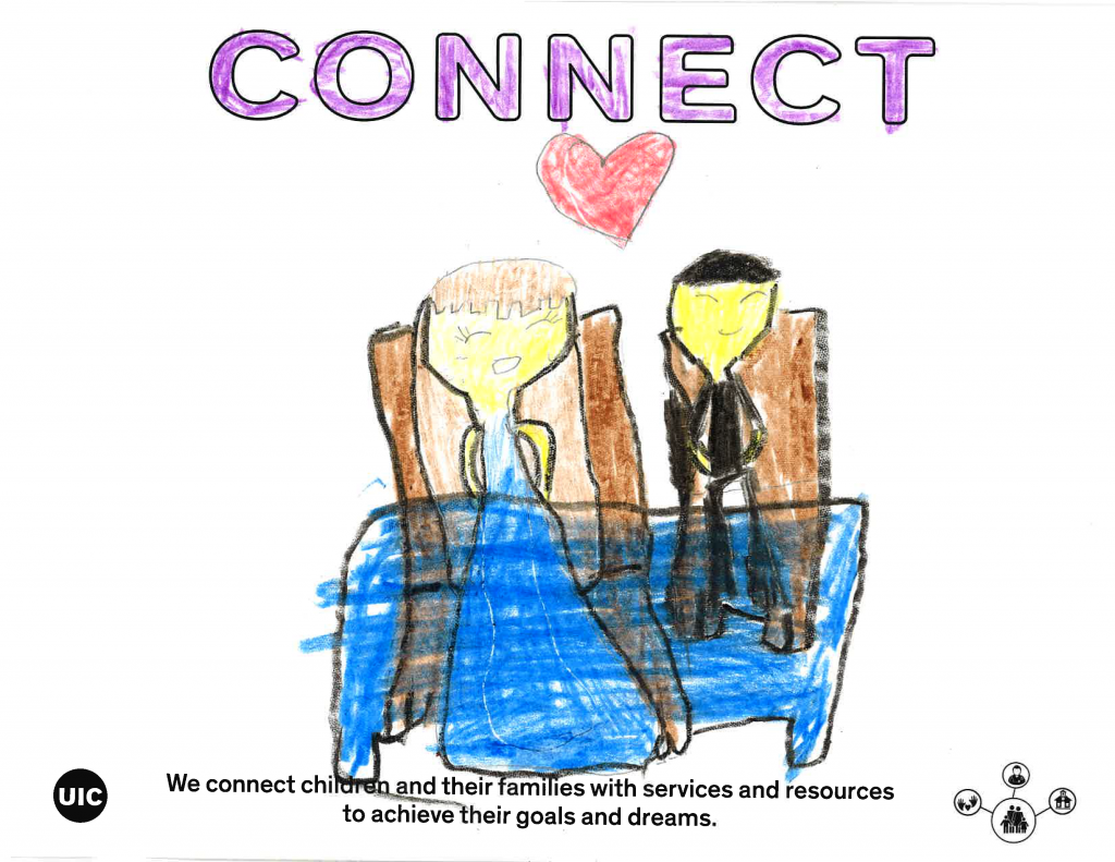 Child's drawing of two people with a heart