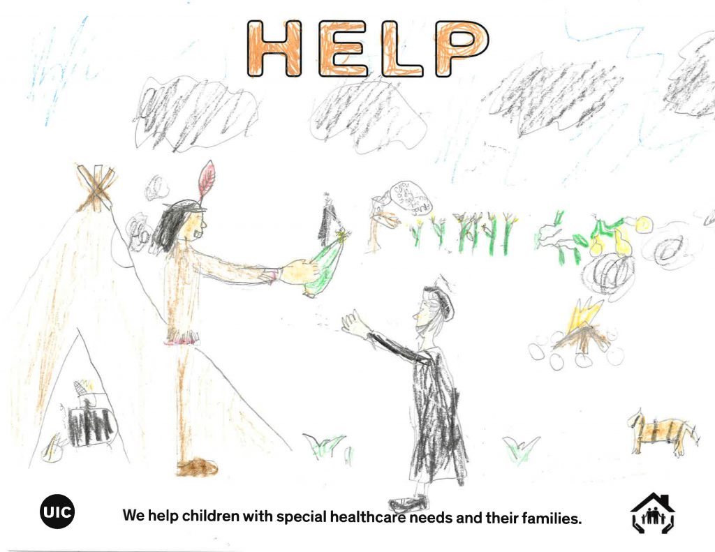Child's drawing of Native American giving corn to a Pilgrim