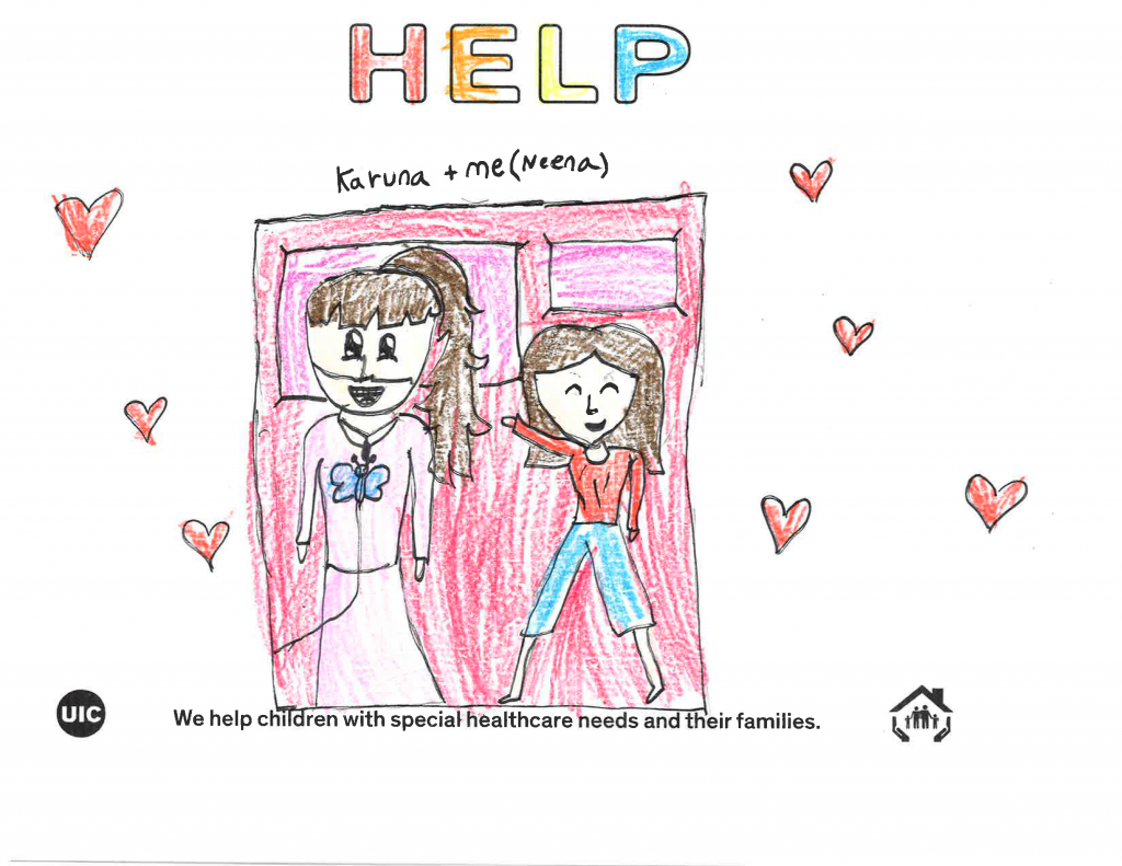 Child's drawing of herself and her sister with complex medical needs