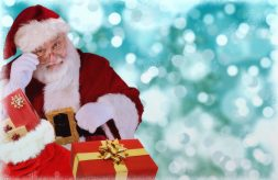 Santa Claus with bag of presents