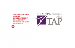 Logos for UIC Institute on Disability and Human Development and The Autism Program of Illinois