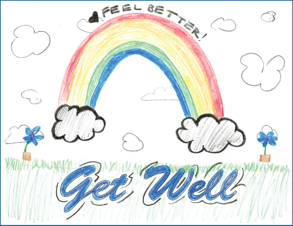 "Drawing of a rainbow with the text, ""Feel better"""