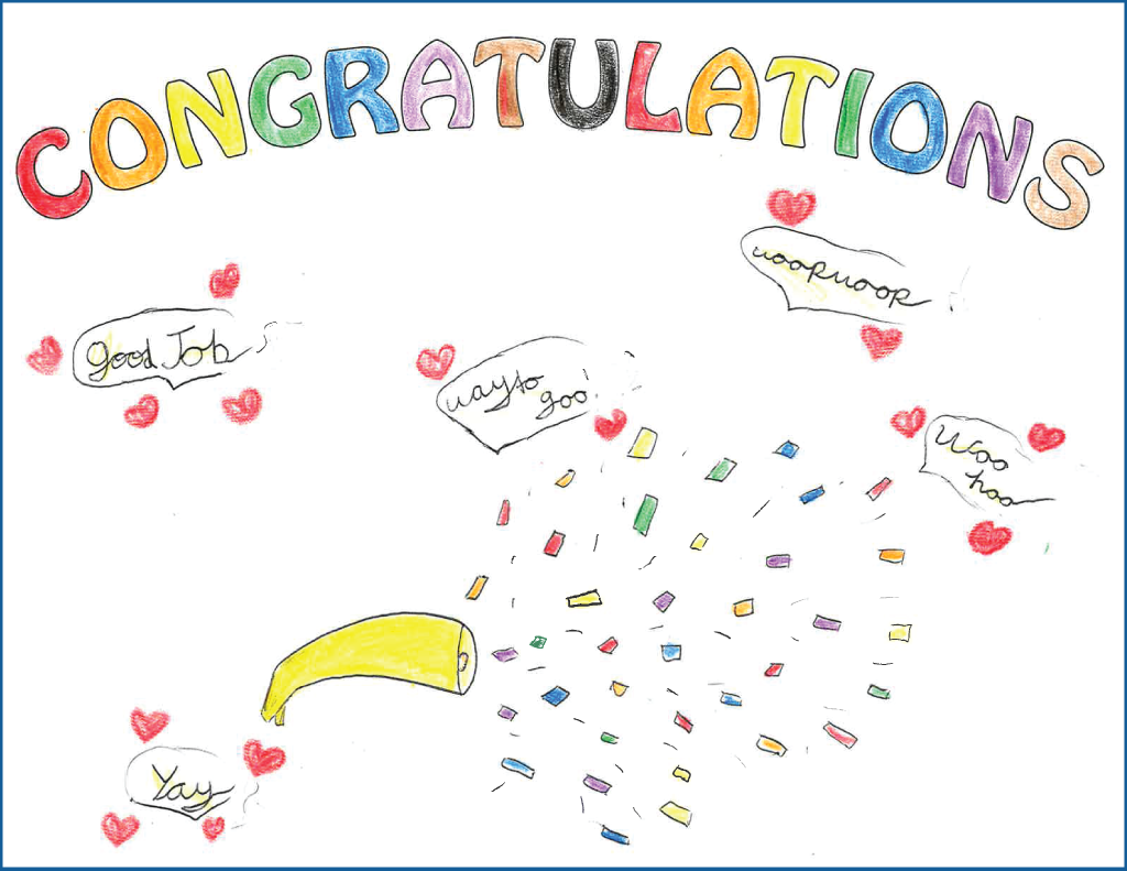 Child's drawing of a celebratory horn and confetti