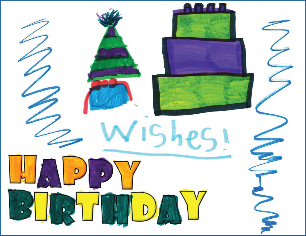 "Drawing of a birthday cake, party hat and birthday present with the text, ""wishes"""