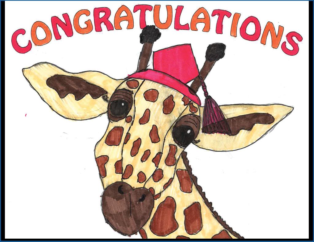 Drawing of a giraffe wearing a graduation cap