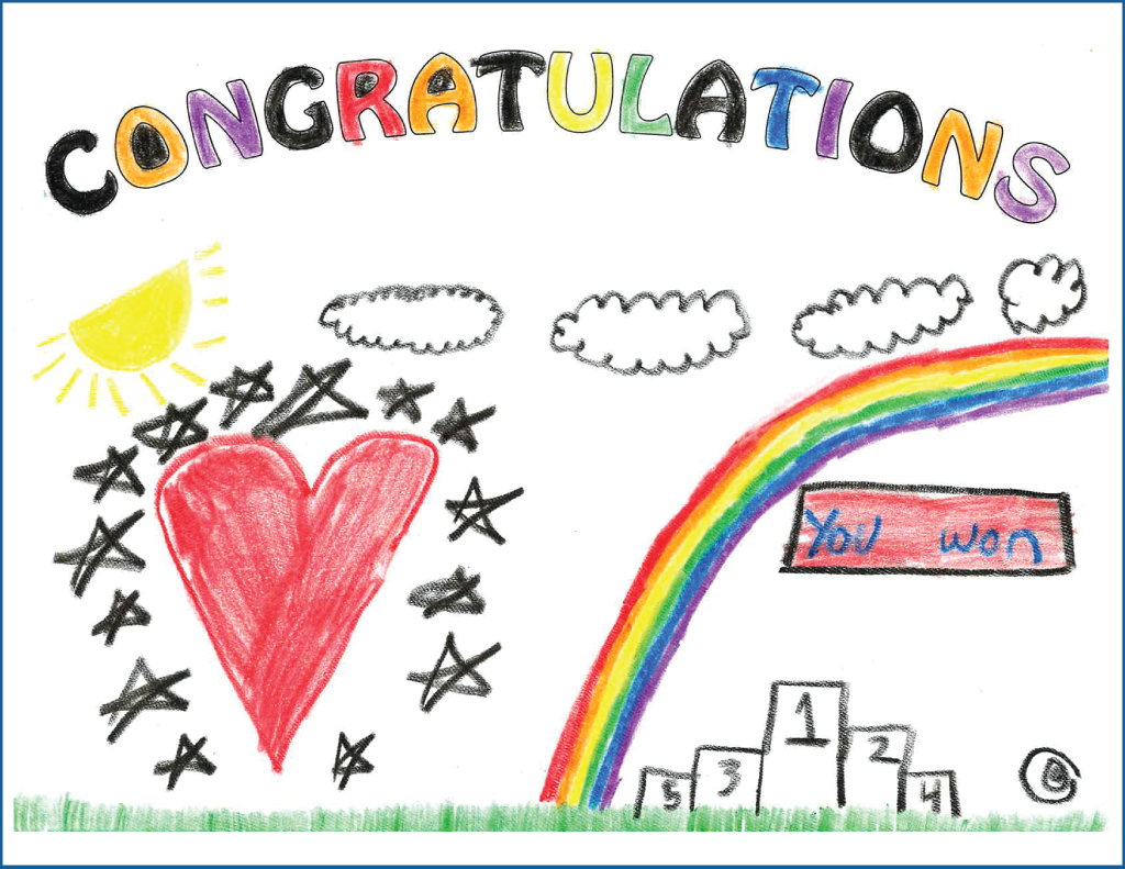 Drawing of a heart, rainbow and winner's podium