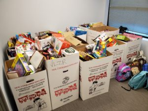 Boxes of toys that DSCC's Mokena Regional Office collected through Toys for Tots.
