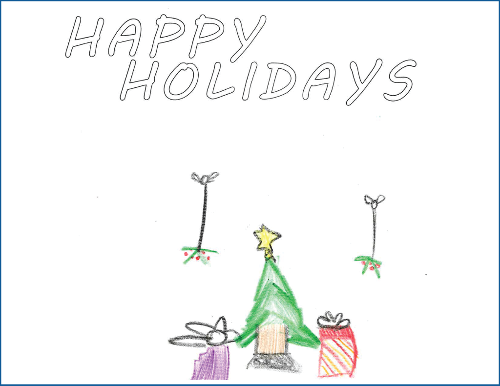 Drawing of a Christmas tree surrounded by presents and mistletoe