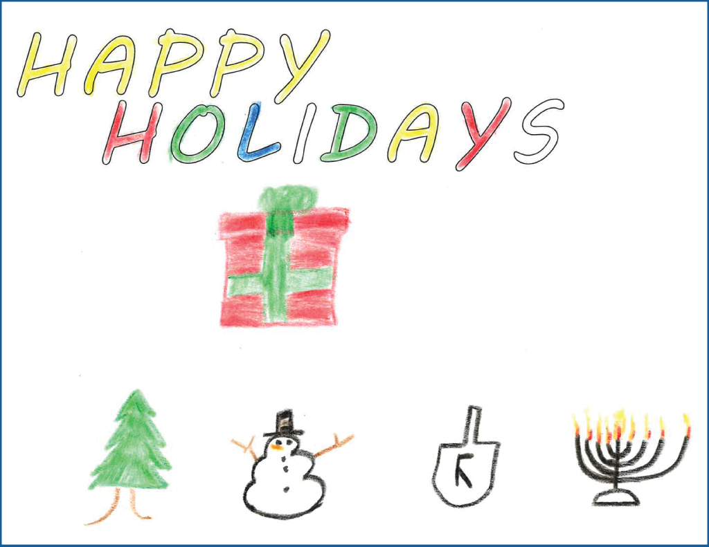 Drawing of a present, Christmas tree, snowman, dreidel and menorah