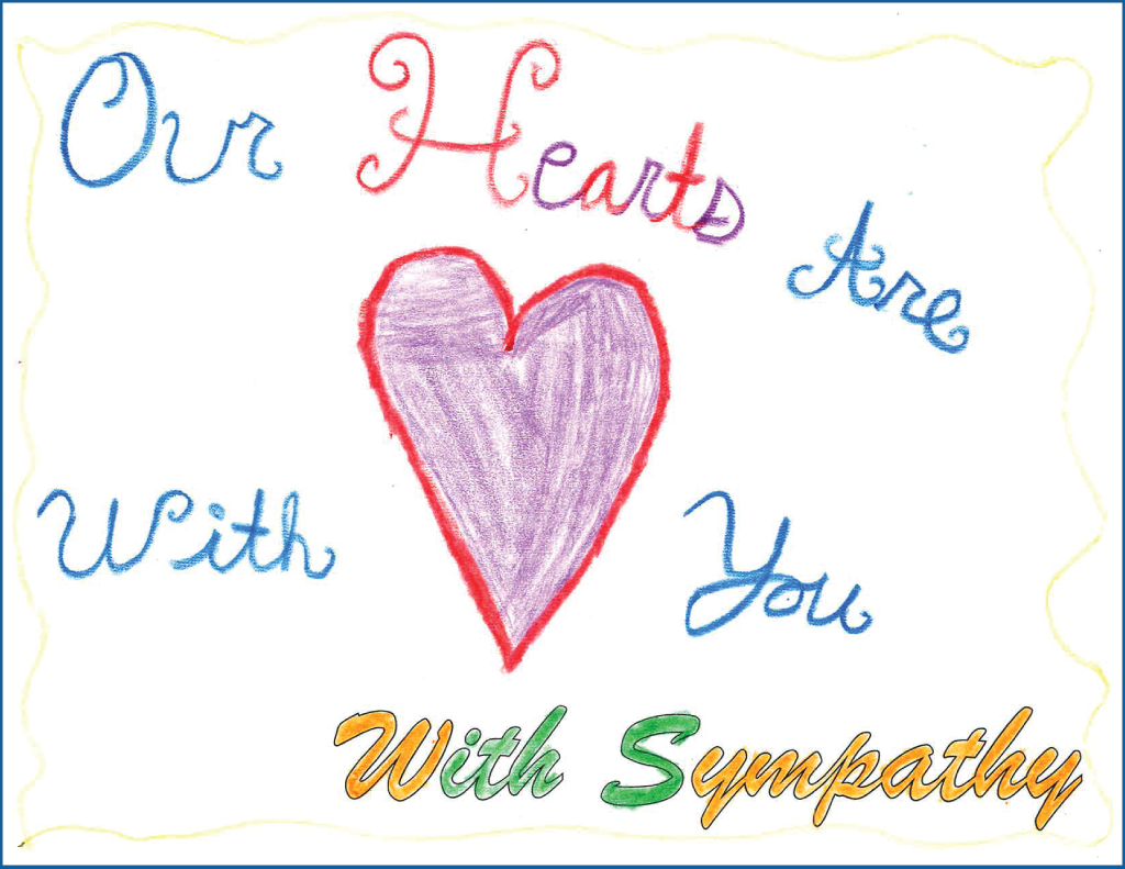 "Drawing of a heart with the text ""Our hearts are with you"""