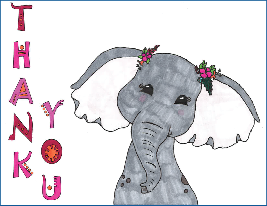 "Drawing of an elephant wearing flowers with the text ""Thank You"""