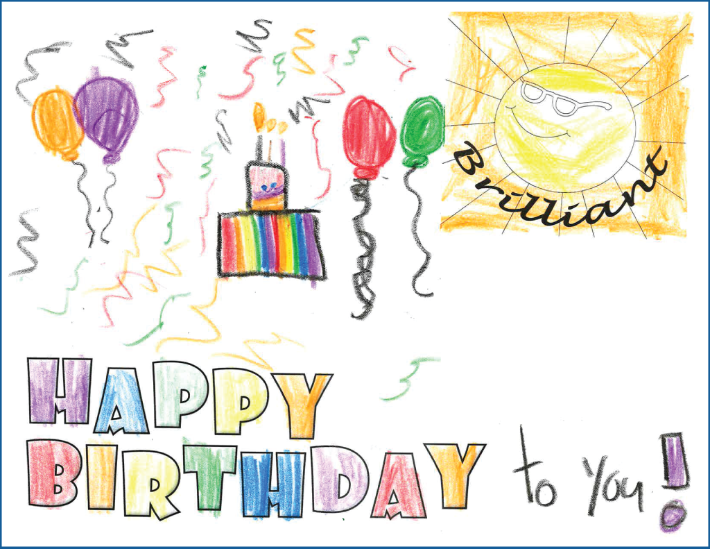 Drawing of a birthday cake with balloons and image of a sun