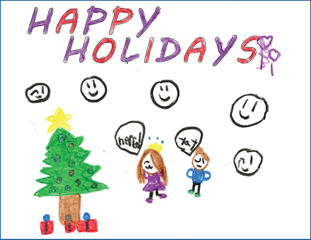 Drawing of a Christmas tree with a little boy and girl