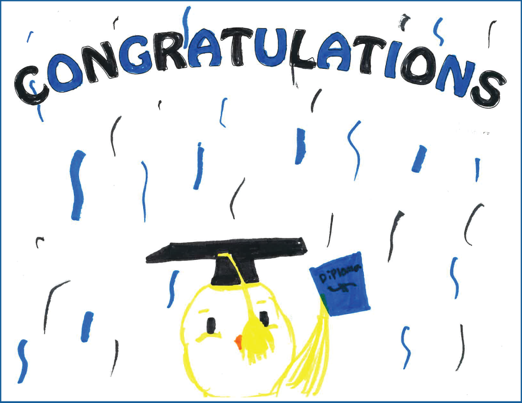 "Drawing of a chick wearing a graduation hat and holding a diploma with the text ""Congratulations"""