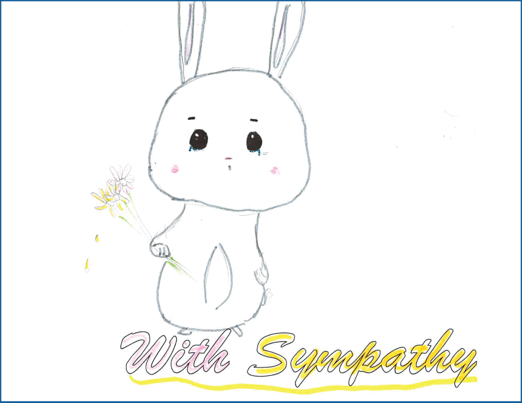Drawing of a bunny with tears in its eyes