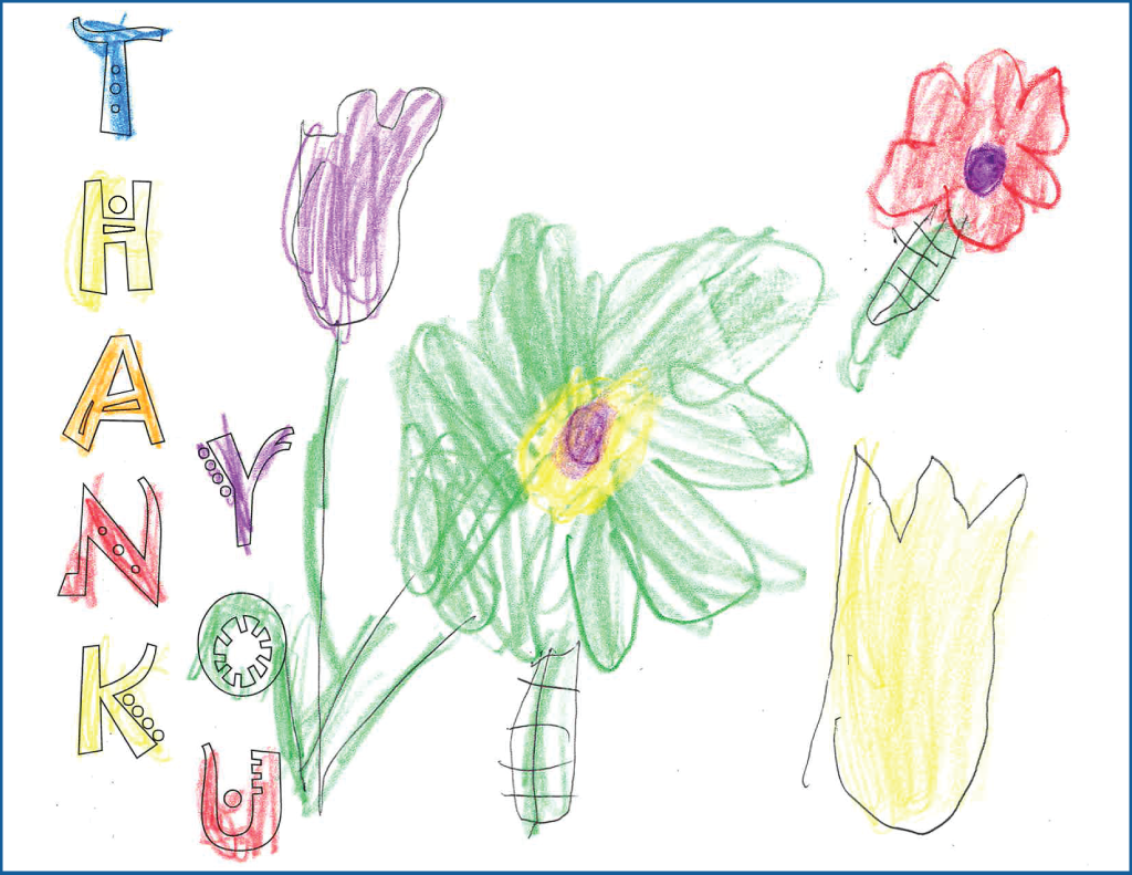 "Drawing of flowers with Text ""Thank You"""