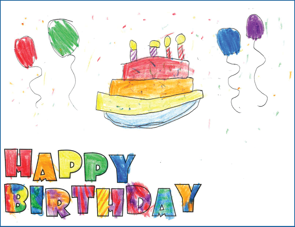 drawing of a birthday cake with candles surrounded by balloons