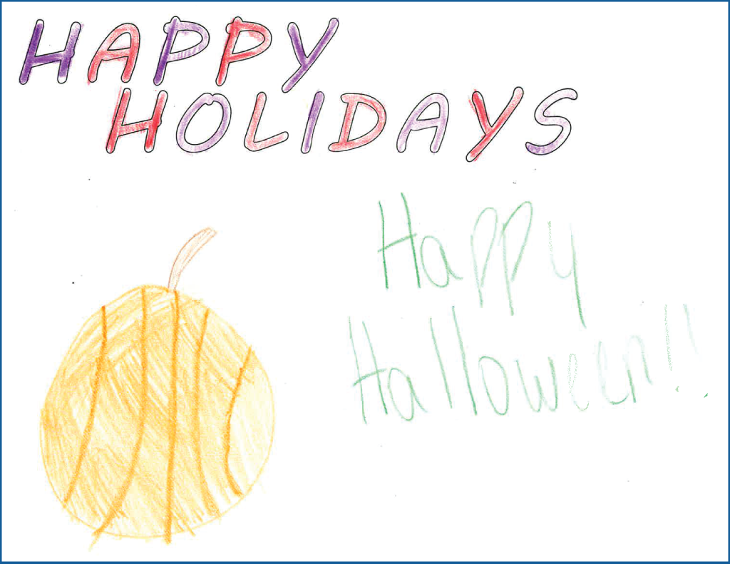 "Drawing of a pumpkin and the text, ""Happy Halloween"""