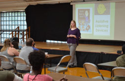 An instructor giving a presentation to parents at the 2019 Institute for Parents of Preschool Children Who Are Deaf or Hard of Hearing