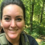 DSCC Care Coordinator Haley Shropshire on her bike participating in the Stop Soldier Suicide Cycling Challenge