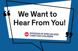 """The text, """"We Want to Hear From You!"""" in a conversation bubble with the DSCC logo"""